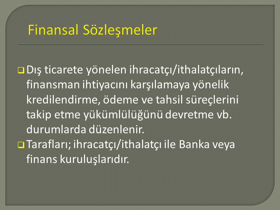 Finansal Sözleşmeler