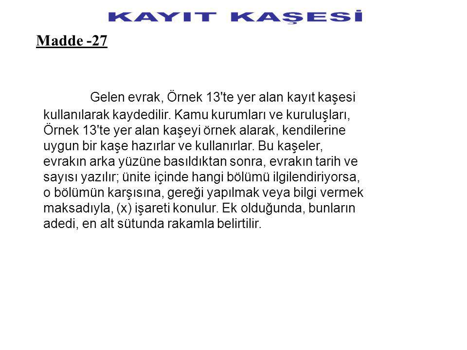 KAYIT KAŞESİ Madde -27.