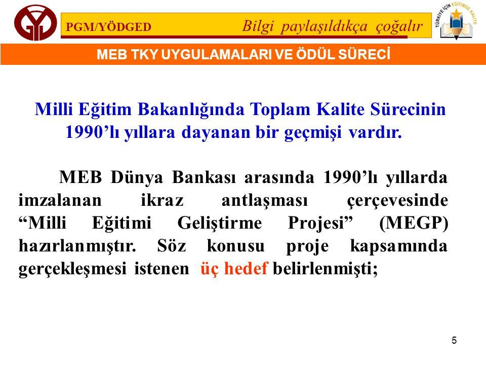 Milli Eğitim Bakanlığında Toplam Kalite Sürecinin 1990'lı yıllara dayanan bir geçmişi vardır.