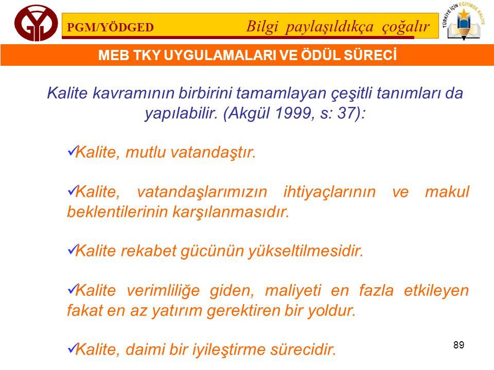 Kalite kavramının birbirini tamamlayan çeşitli tanımları da yapılabilir. (Akgül 1999, s: 37):