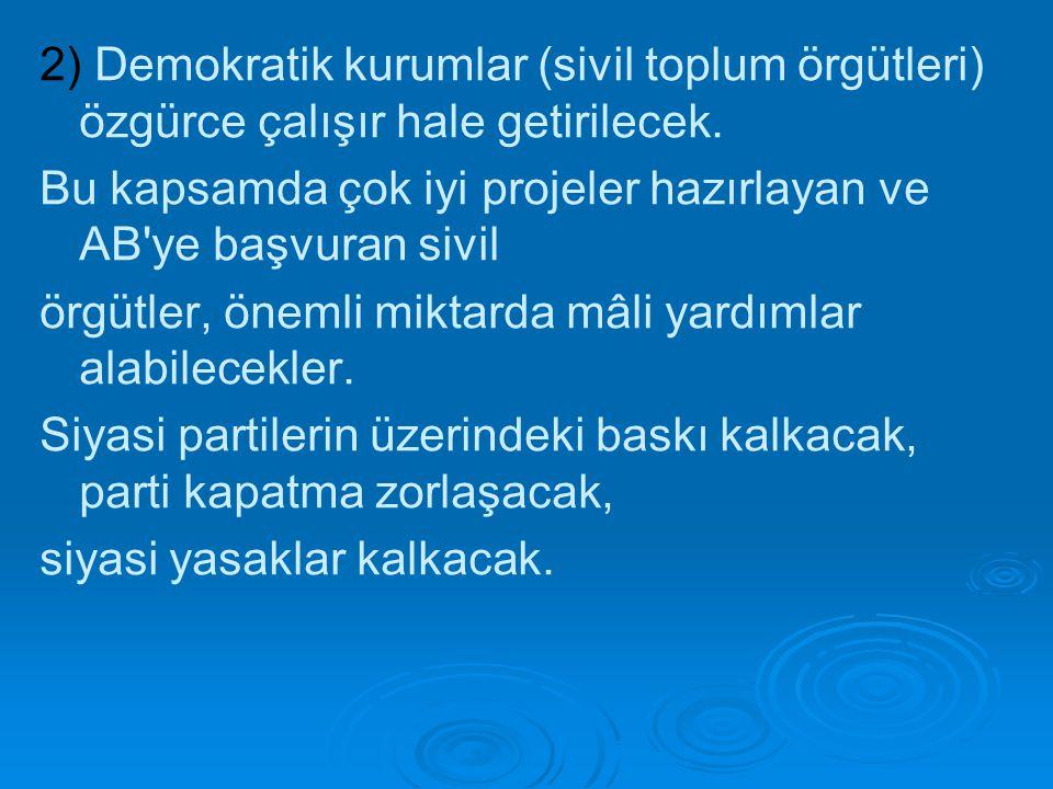 2) Demokratik kurumlar (sivil toplum örgütleri) özgürce çalışır hale getirilecek.