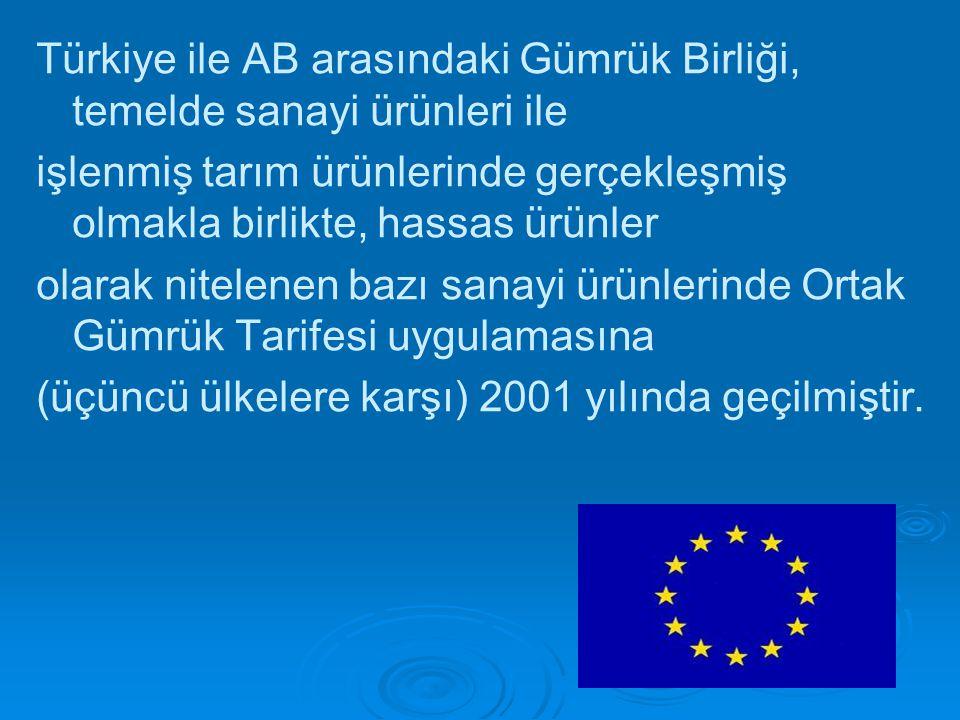Türkiye ile AB arasındaki Gümrük Birliği, temelde sanayi ürünleri ile