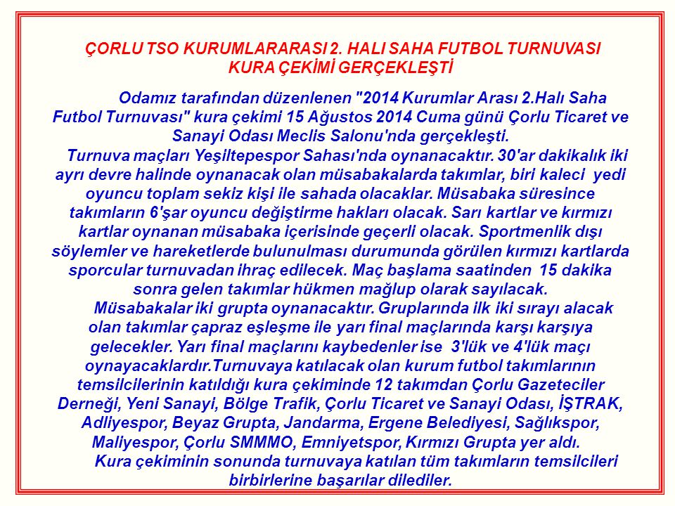 ÇORLU TSO KURUMLARARASI 2