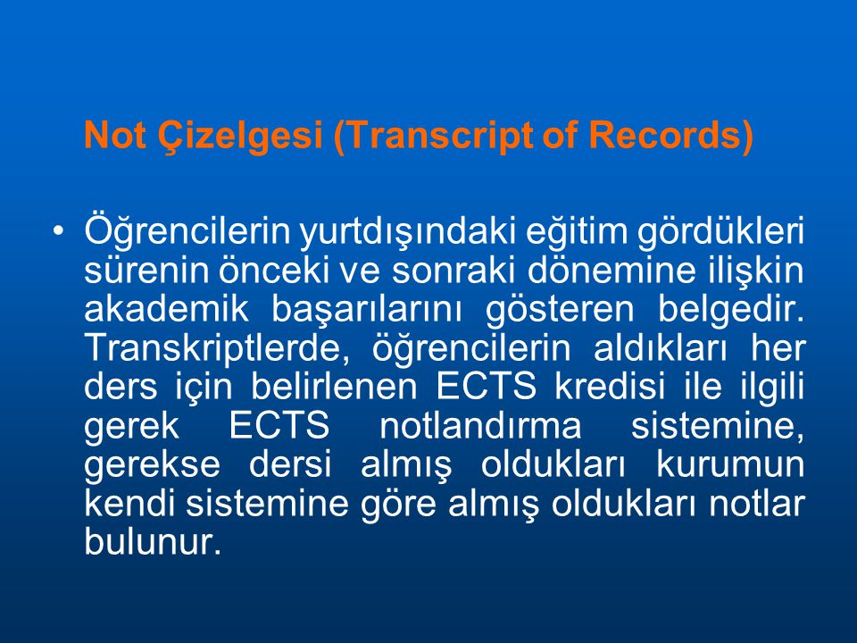 Not Çizelgesi (Transcript of Records)