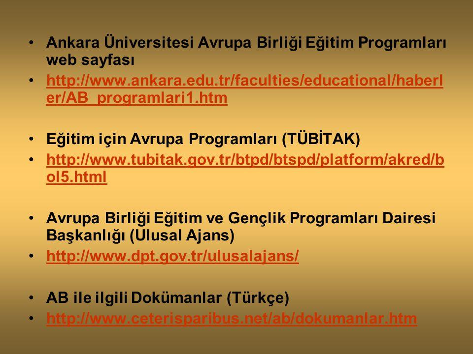 Ankara Üniversitesi Avrupa Birliği Eğitim Programları web sayfası