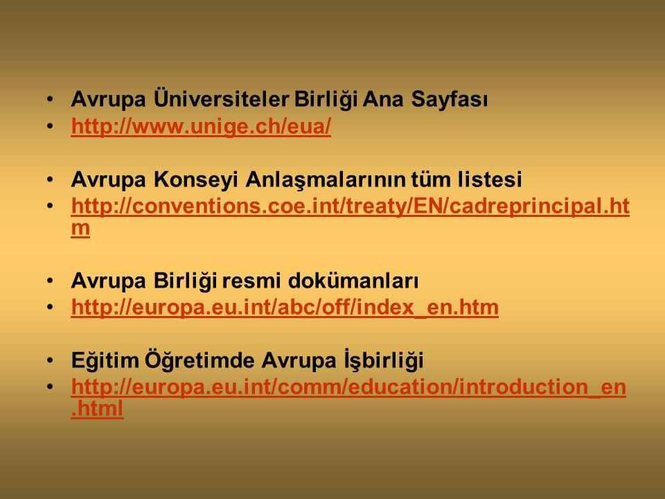 Avrupa Üniversiteler Birliği Ana Sayfası