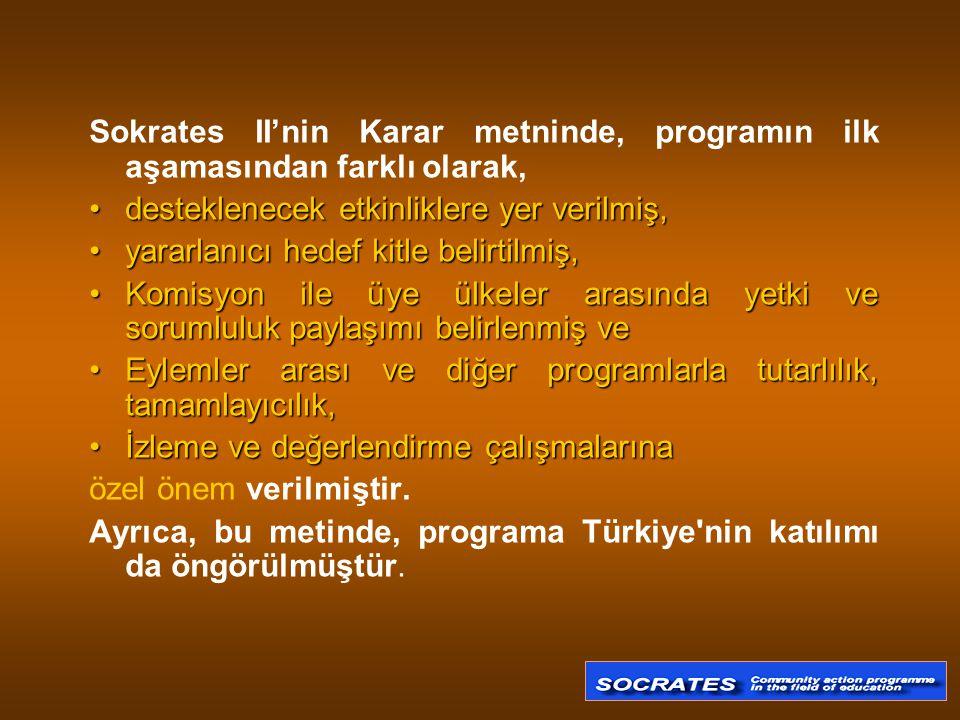Sokrates II'nin Karar metninde, programın ilk aşamasından farklı olarak,