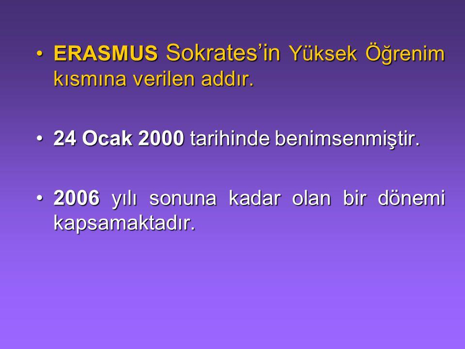 ERASMUS Sokrates'in Yüksek Öğrenim kısmına verilen addır.
