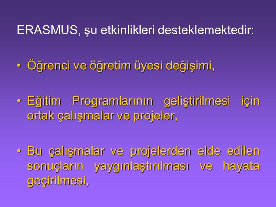 ERASMUS, şu etkinlikleri desteklemektedir: