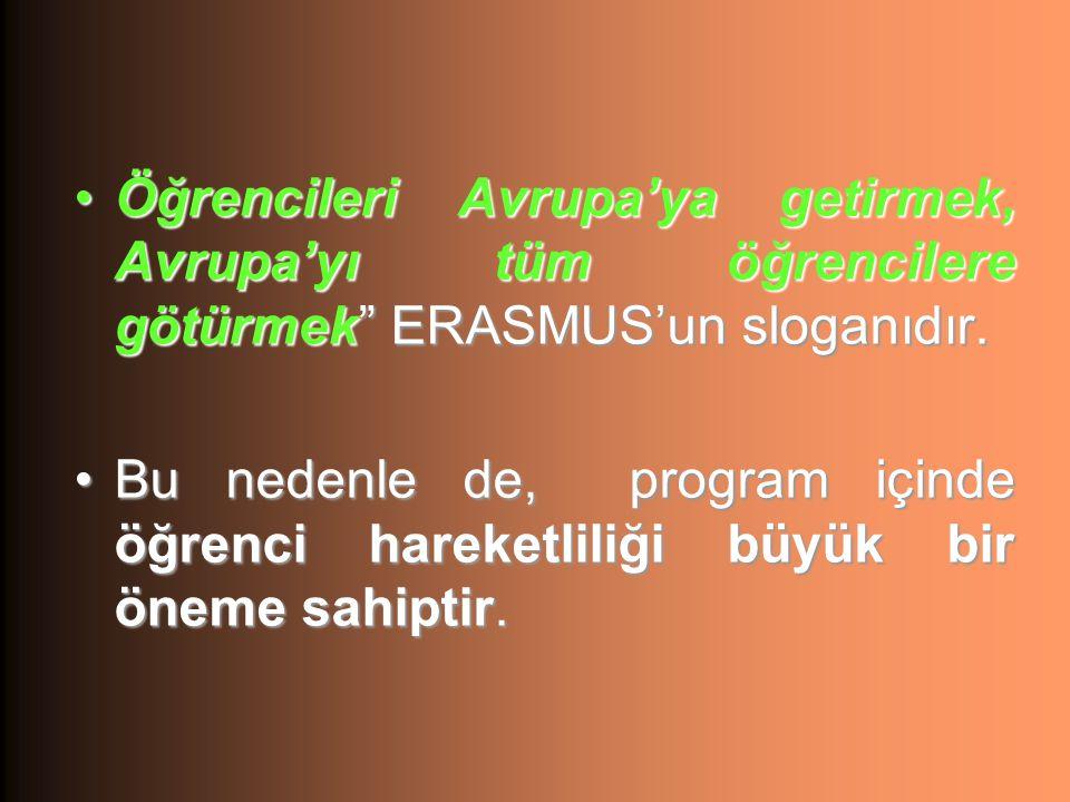Öğrencileri Avrupa'ya getirmek, Avrupa'yı tüm öğrencilere götürmek ERASMUS'un sloganıdır.