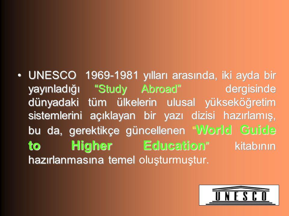 UNESCO 1969-1981 yılları arasında, iki ayda bir yayınladığı Study Abroad dergisinde dünyadaki tüm ülkelerin ulusal yükseköğretim sistemlerini açıklayan bir yazı dizisi hazırlamış, bu da, gerektikçe güncellenen World Guide to Higher Education kitabının hazırlanmasına temel oluşturmuştur.