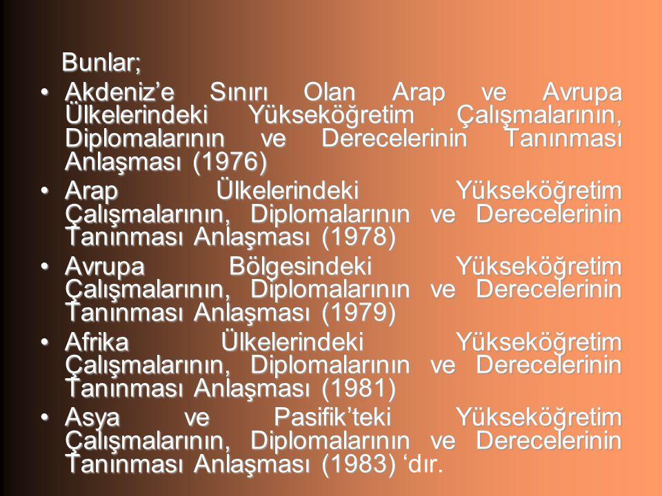 Bunlar; Akdeniz'e Sınırı Olan Arap ve Avrupa Ülkelerindeki Yükseköğretim Çalışmalarının, Diplomalarının ve Derecelerinin Tanınması Anlaşması (1976)