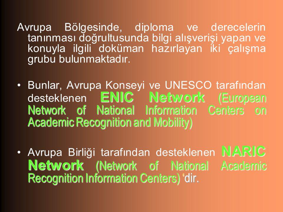 Avrupa Bölgesinde, diploma ve derecelerin tanınması doğrultusunda bilgi alışverişi yapan ve konuyla ilgili doküman hazırlayan iki çalışma grubu bulunmaktadır.