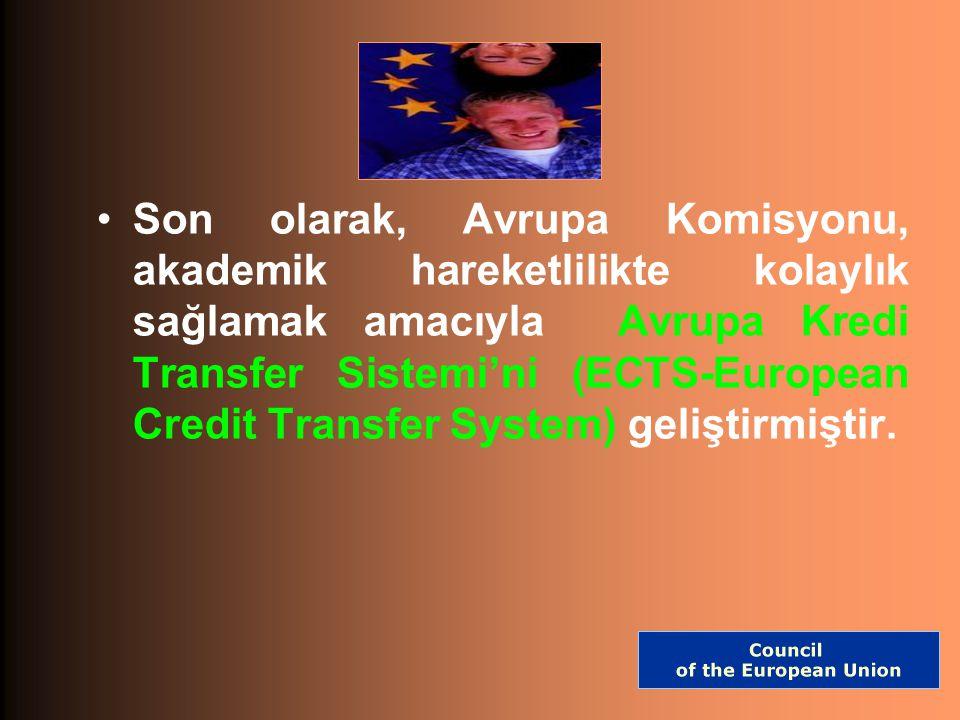 Son olarak, Avrupa Komisyonu, akademik hareketlilikte kolaylık sağlamak amacıyla Avrupa Kredi Transfer Sistemi'ni (ECTS-European Credit Transfer System) geliştirmiştir.