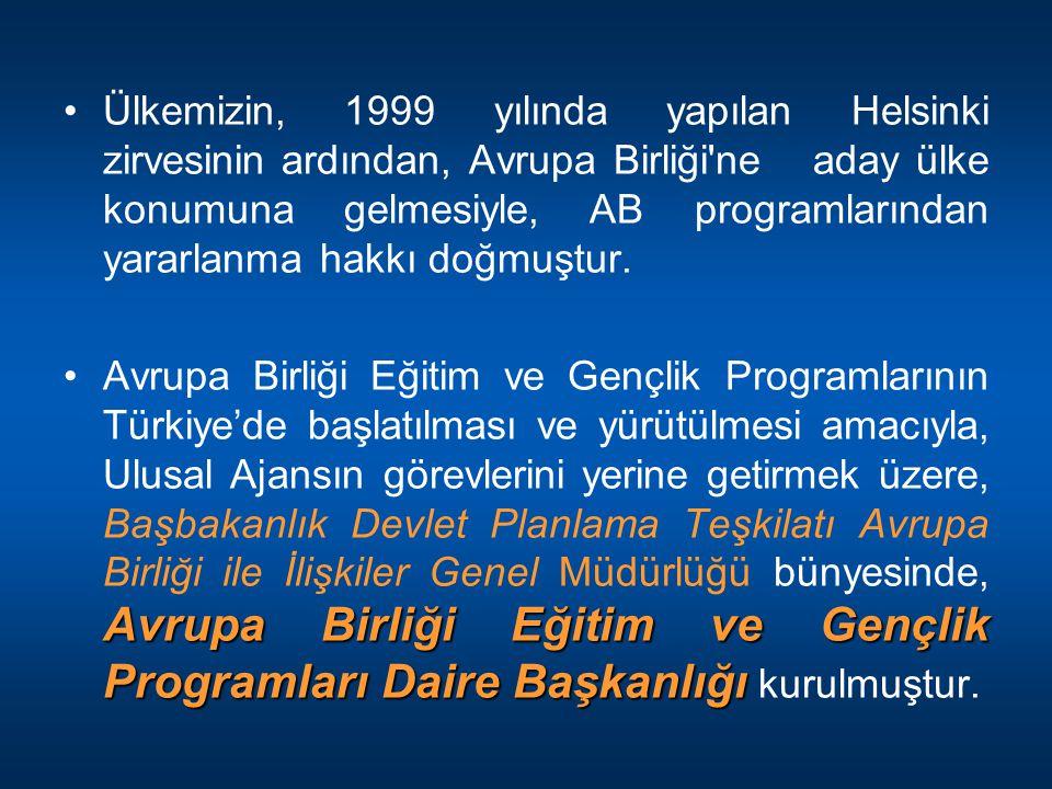 Ülkemizin, 1999 yılında yapılan Helsinki zirvesinin ardından, Avrupa Birliği ne aday ülke konumuna gelmesiyle, AB programlarından yararlanma hakkı doğmuştur.
