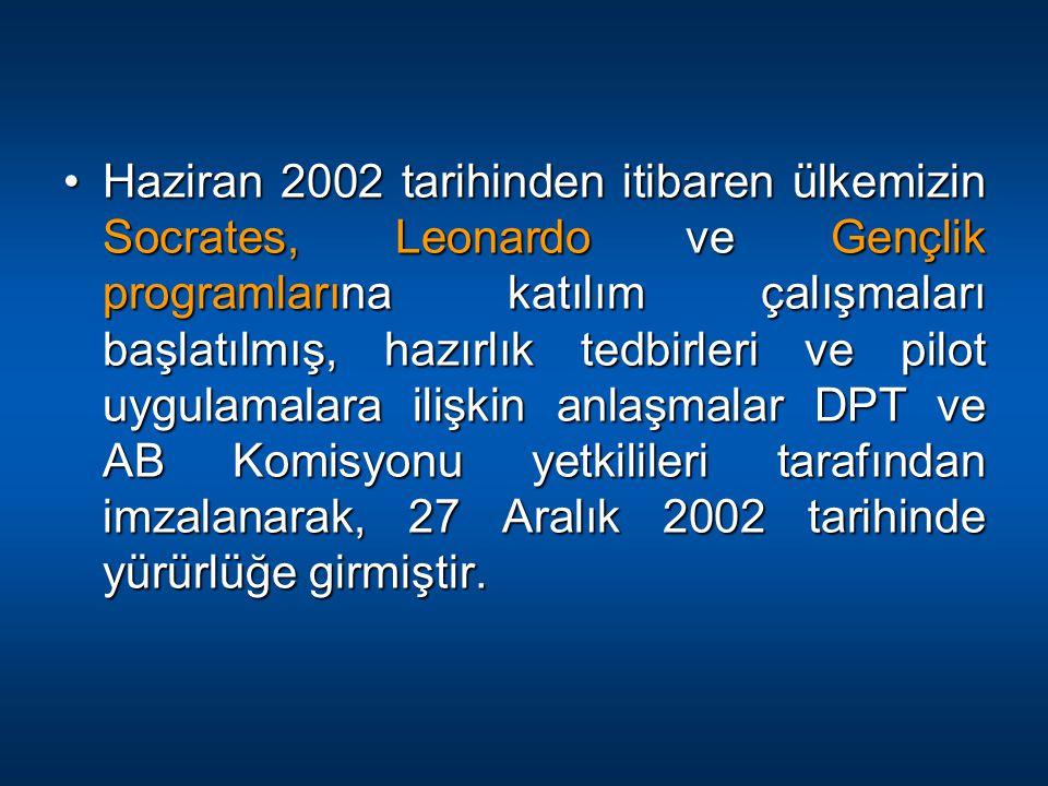 Haziran 2002 tarihinden itibaren ülkemizin Socrates, Leonardo ve Gençlik programlarına katılım çalışmaları başlatılmış, hazırlık tedbirleri ve pilot uygulamalara ilişkin anlaşmalar DPT ve AB Komisyonu yetkilileri tarafından imzalanarak, 27 Aralık 2002 tarihinde yürürlüğe girmiştir.