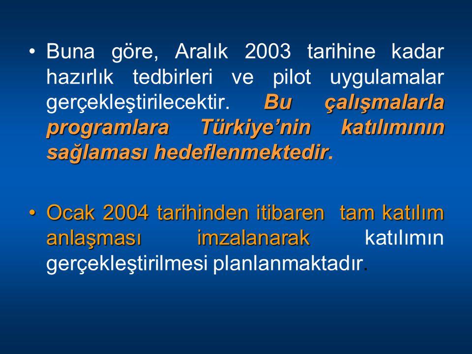 Buna göre, Aralık 2003 tarihine kadar hazırlık tedbirleri ve pilot uygulamalar gerçekleştirilecektir. Bu çalışmalarla programlara Türkiye'nin katılımının sağlaması hedeflenmektedir.