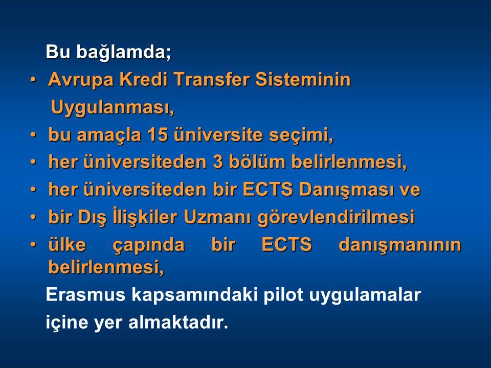 Bu bağlamda; Avrupa Kredi Transfer Sisteminin. Uygulanması, bu amaçla 15 üniversite seçimi, her üniversiteden 3 bölüm belirlenmesi,