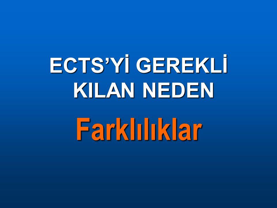 ECTS'Yİ GEREKLİ KILAN NEDEN