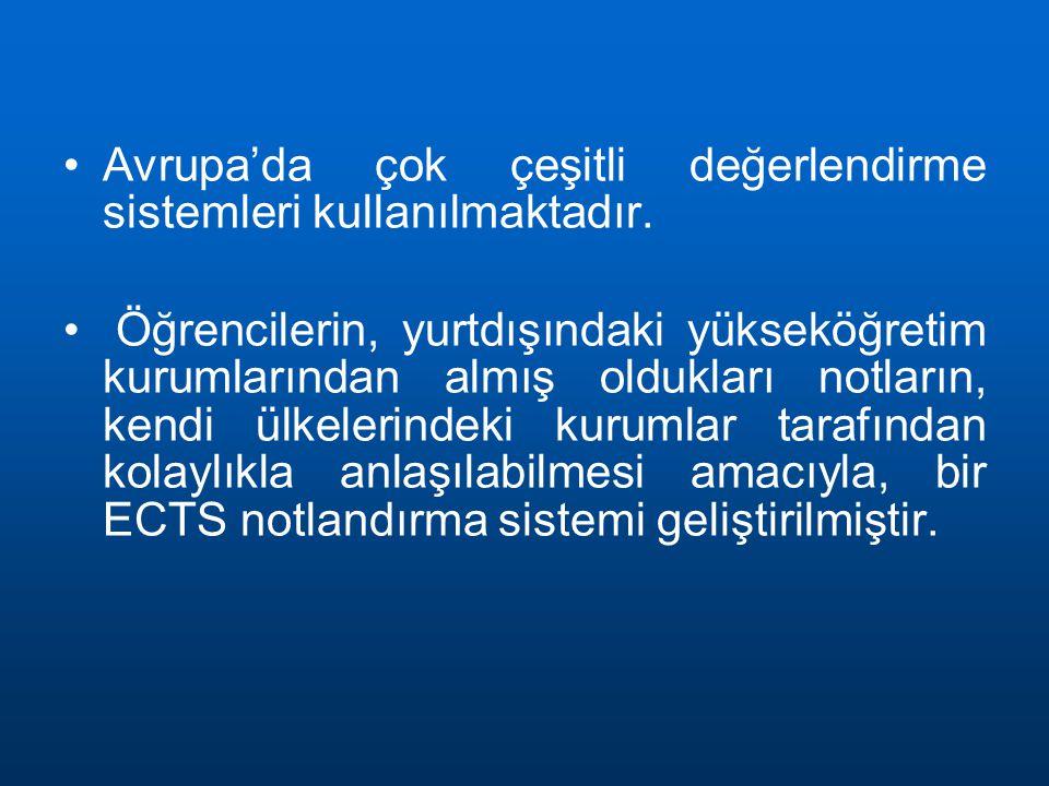 Avrupa'da çok çeşitli değerlendirme sistemleri kullanılmaktadır.