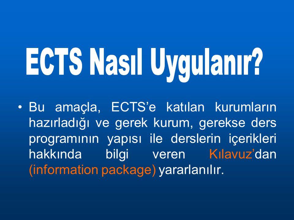 Bu amaçla, ECTS'e katılan kurumların hazırladığı ve gerek kurum, gerekse ders programının yapısı ile derslerin içerikleri hakkında bilgi veren Kılavuz'dan (information package) yararlanılır.