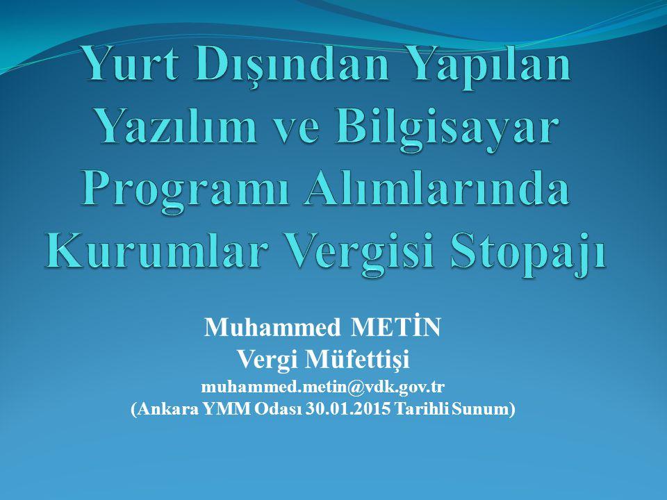 (Ankara YMM Odası 30.01.2015 Tarihli Sunum)