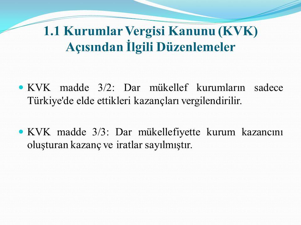 1.1 Kurumlar Vergisi Kanunu (KVK) Açısından İlgili Düzenlemeler