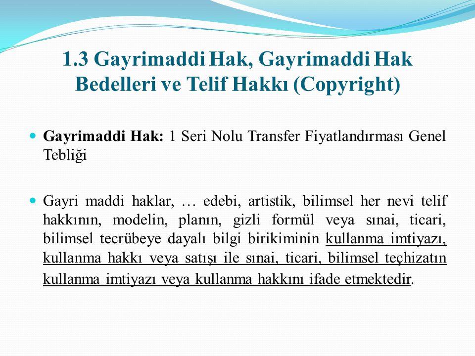 1.3 Gayrimaddi Hak, Gayrimaddi Hak Bedelleri ve Telif Hakkı (Copyright)
