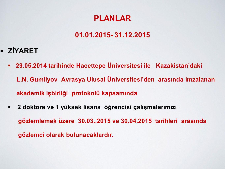 PLANLAR 01.01.2015- 31.12.2015. ZİYARET. 29.05.2014 tarihinde Hacettepe Üniversitesi ile Kazakistan'daki.