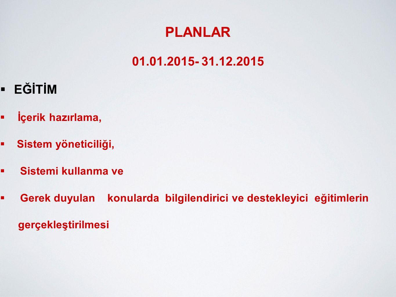 PLANLAR 01.01.2015- 31.12.2015 EĞİTİM İçerik hazırlama,