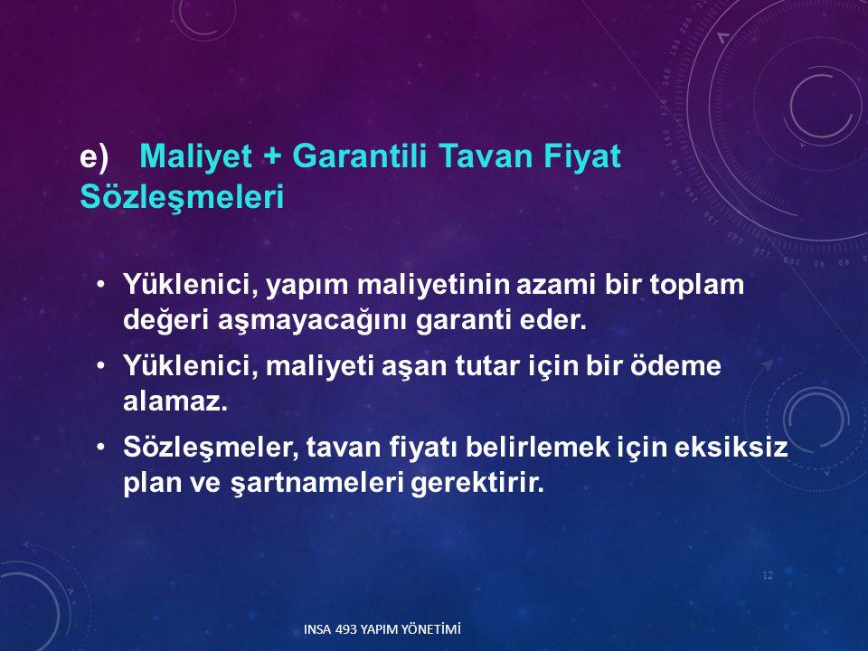 e) Maliyet + Garantili Tavan Fiyat Sözleşmeleri