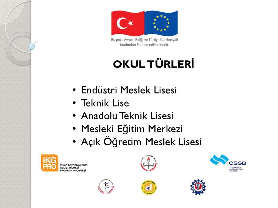 OKUL TÜRLERİ Endüstri Meslek Lisesi. Teknik Lise. Anadolu Teknik Lisesi. Mesleki Eğitim Merkezi.