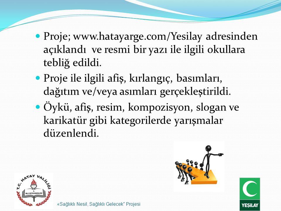 Proje; www.hatayarge.com/Yesilay adresinden açıklandı ve resmi bir yazı ile ilgili okullara tebliğ edildi.