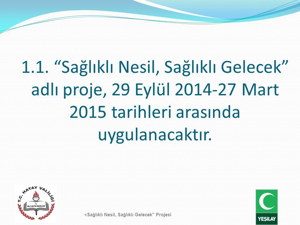 1.1. Sağlıklı Nesil, Sağlıklı Gelecek adlı proje, 29 Eylül 2014-27 Mart 2015 tarihleri arasında uygulanacaktır.