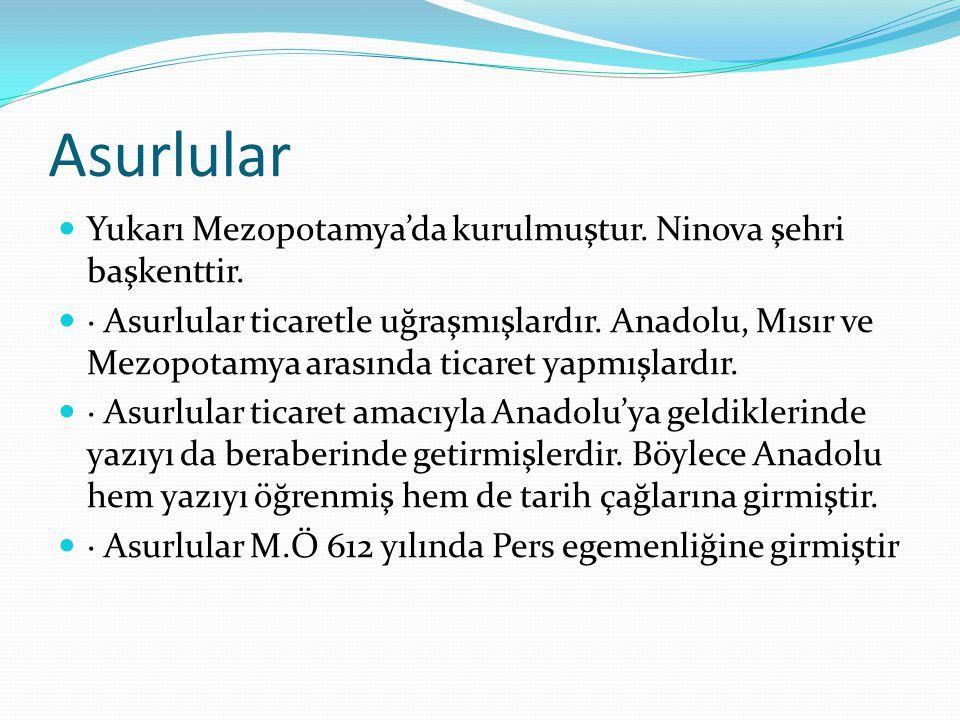 Asurlular Yukarı Mezopotamya'da kurulmuştur. Ninova şehri başkenttir.