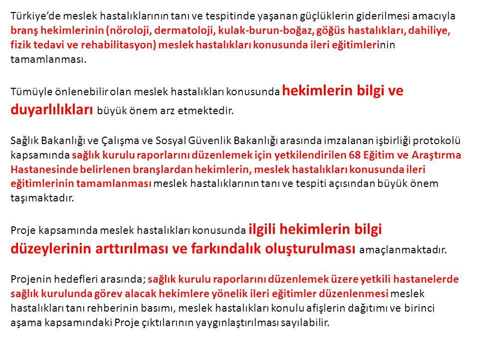 Türkiye'de meslek hastalıklarının tanı ve tespitinde yaşanan güçlüklerin giderilmesi amacıyla branş hekimlerinin (nöroloji, dermatoloji, kulak-burun-boğaz, göğüs hastalıkları, dahiliye, fizik tedavi ve rehabilitasyon) meslek hastalıkları konusunda ileri eğitimlerinin tamamlanması.