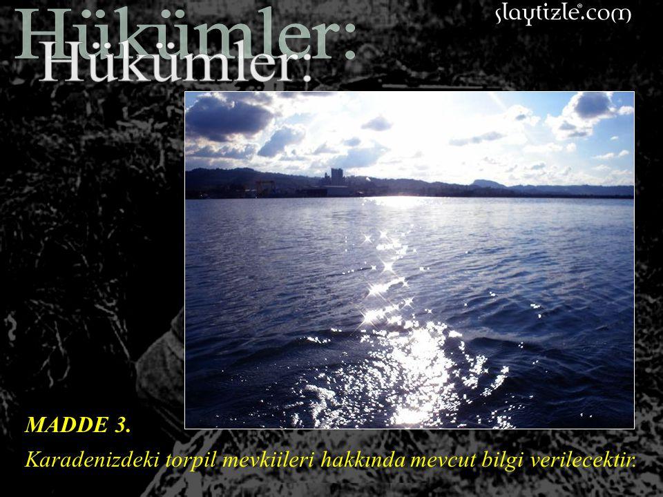 Hükümler: MADDE 3. Karadenizdeki torpil mevkiileri hakkında mevcut bilgi verilecektir.