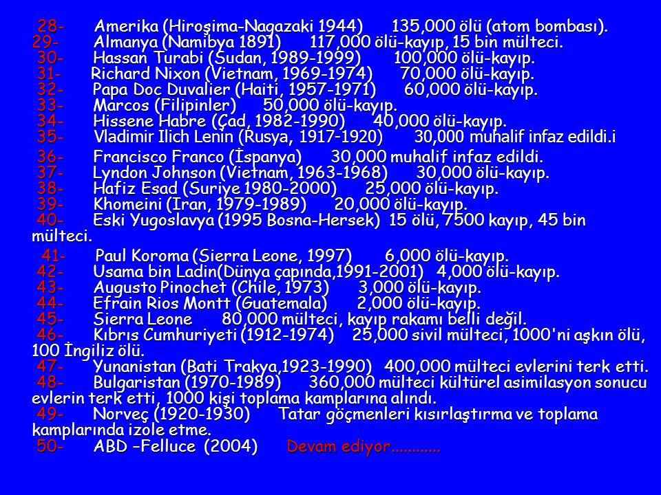 28- Amerika (Hiroşima-Nagazaki 1944) 135,000 ölü (atom bombası)
