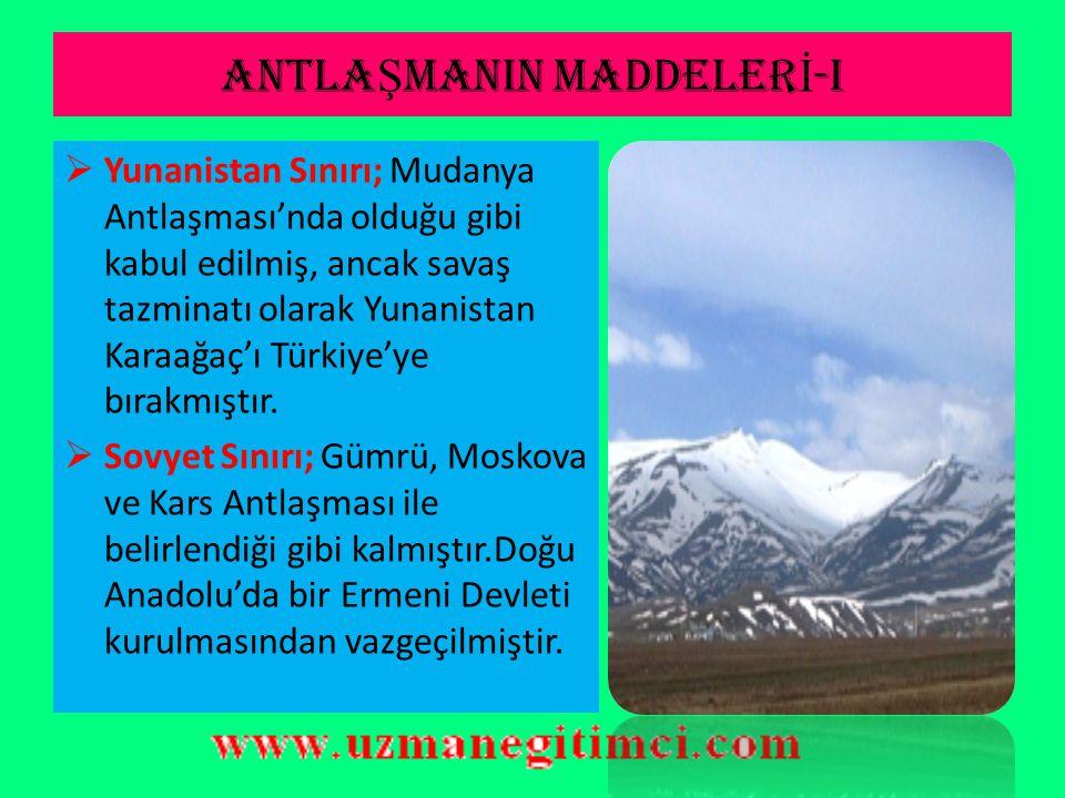 ANTLAŞMANIN MADDELERİ-I