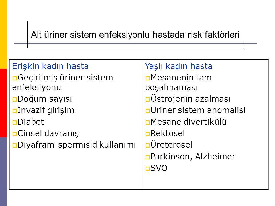 Alt üriner sistem enfeksiyonlu hastada risk faktörleri