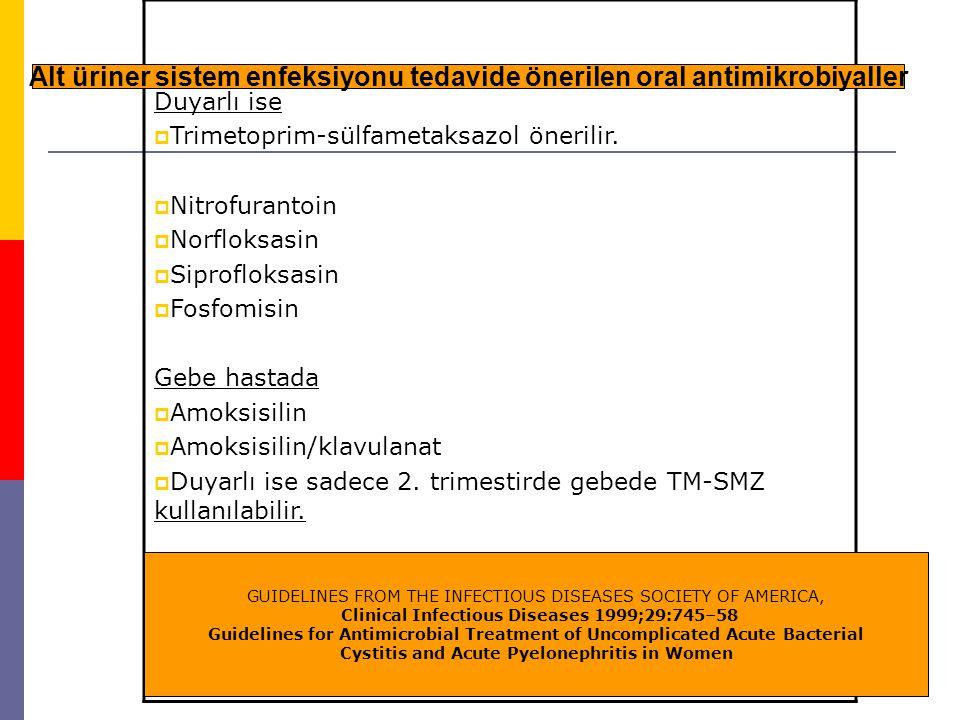 Alt üriner sistem enfeksiyonu tedavide önerilen oral antimikrobiyaller