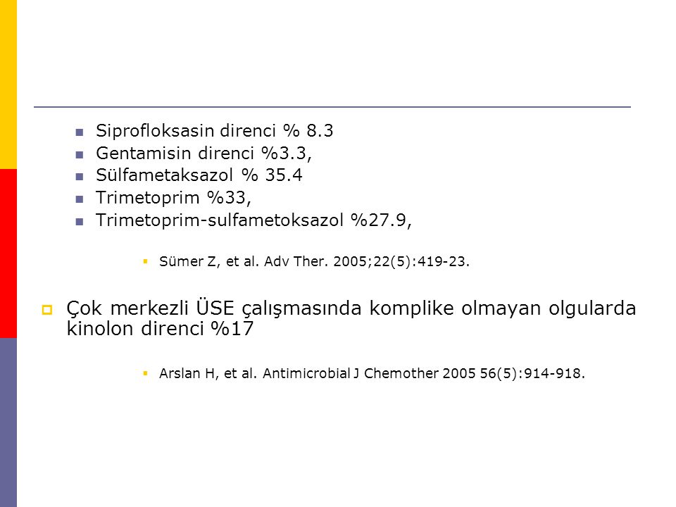 Siprofloksasin direnci % 8.3