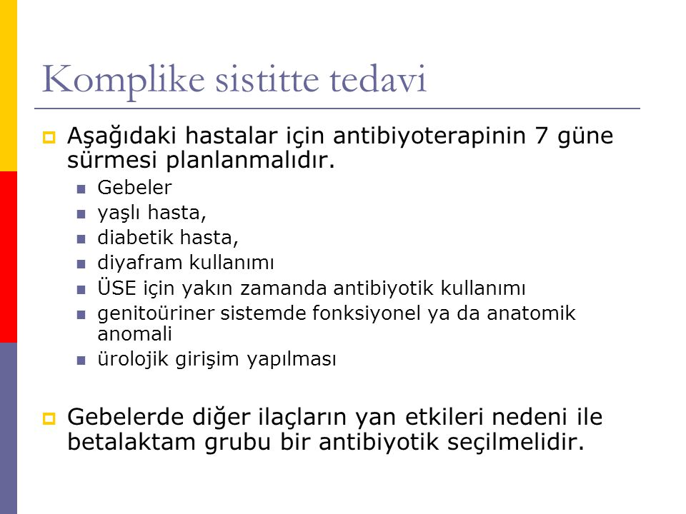 Komplike sistitte tedavi