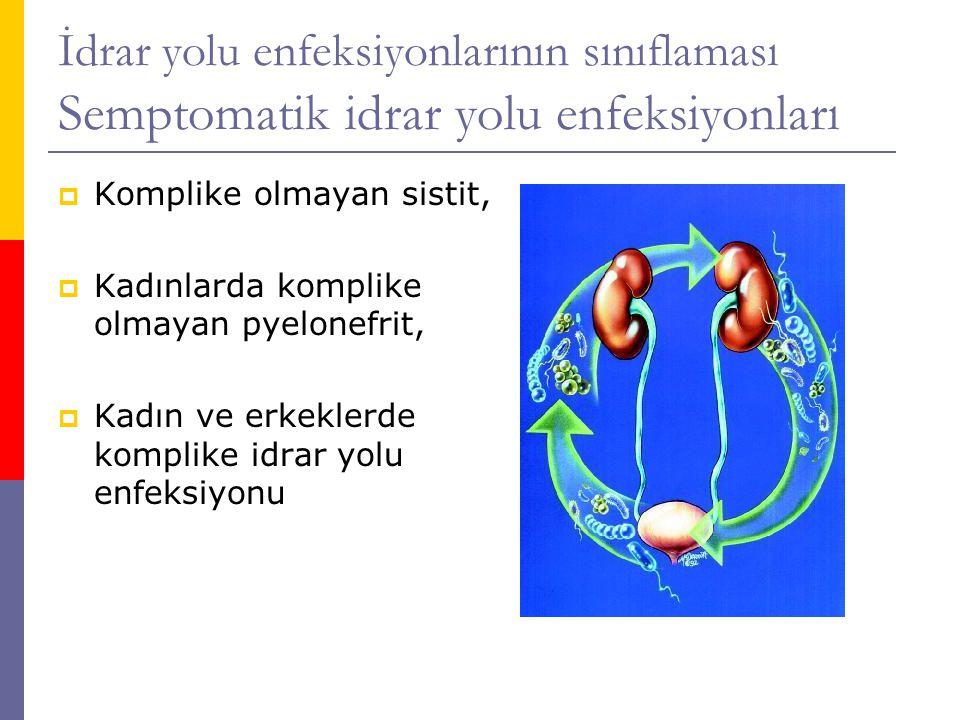 İdrar yolu enfeksiyonlarının sınıflaması Semptomatik idrar yolu enfeksiyonları