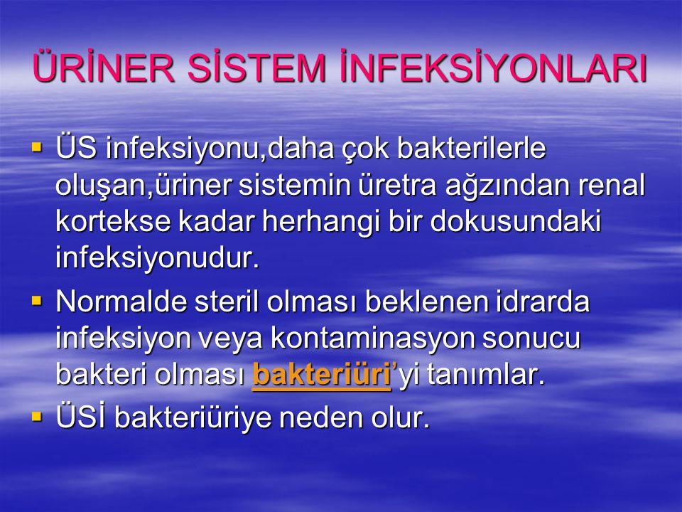 ÜRİNER SİSTEM İNFEKSİYONLARI