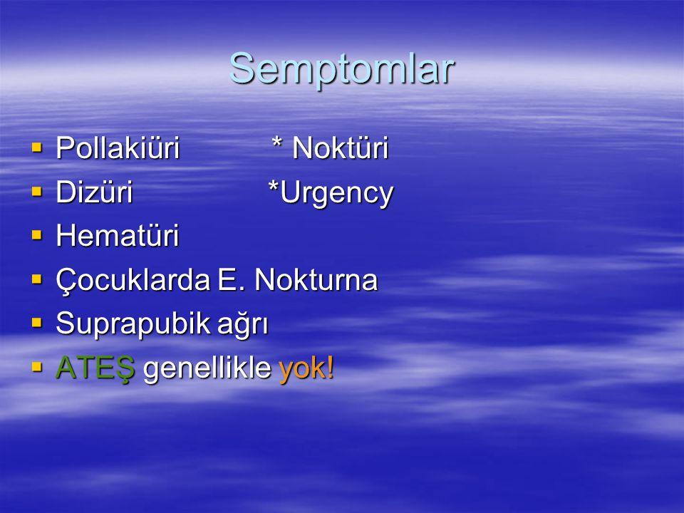 Semptomlar Pollakiüri * Noktüri Dizüri *Urgency Hematüri