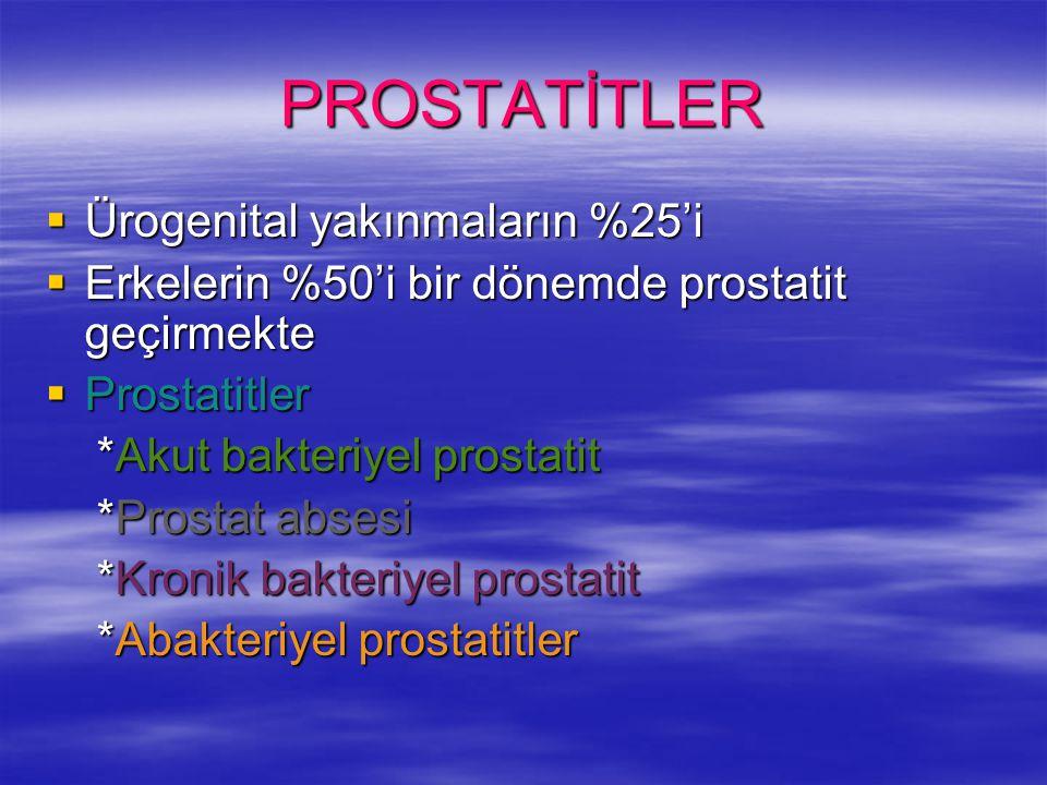 PROSTATİTLER Ürogenital yakınmaların %25'i