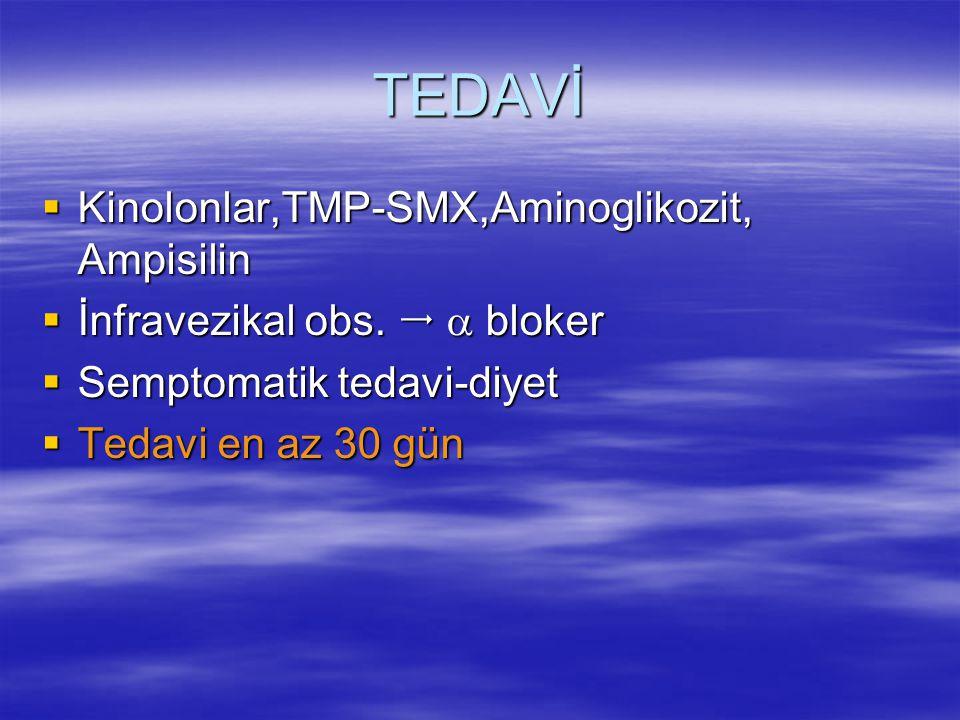 TEDAVİ Kinolonlar,TMP-SMX,Aminoglikozit, Ampisilin