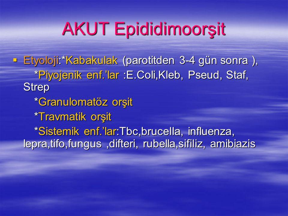 AKUT Epididimoorşit Etyoloji:*Kabakulak (parotitden 3-4 gün sonra ),