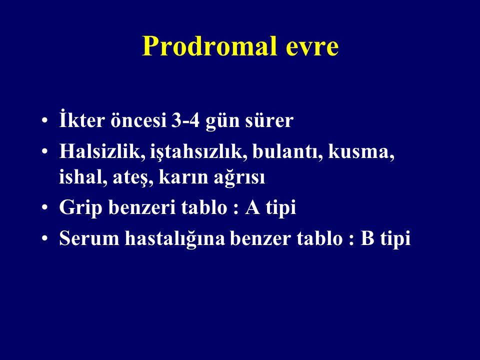 Prodromal evre İkter öncesi 3-4 gün sürer